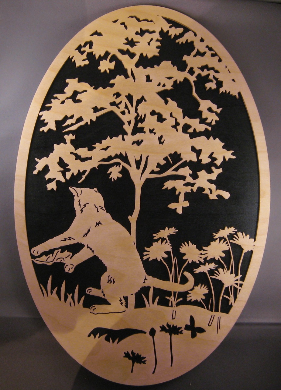 Laser Cut Garden Cat Oval